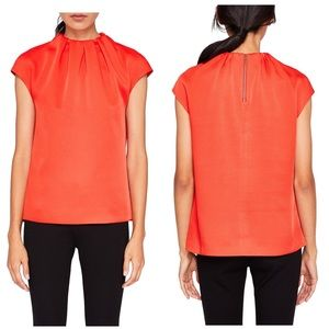 Ted Baker Landa High Neck Top Bright Red Blouse